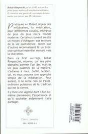Meditation. conseils aux debutants - 4ème de couverture - Format classique