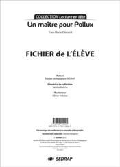 Un maître pour Pollux ; fichier de l'élève - Couverture - Format classique