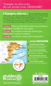 GEOguide ; Espagne côte est ; Barcelone, Valence, Saragosse (édition 2019) - 4ème de couverture - Format classique