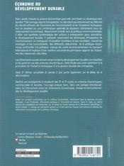 Economie du developpement durable (2e édition) - 4ème de couverture - Format classique