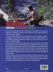 Algérie ; chronique d'une guerre amnésique ; 1954-1962 - 4ème de couverture - Format classique