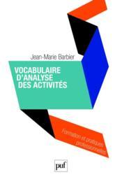 Vocabulaire d'analyse des activités - Couverture - Format classique