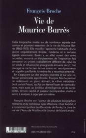 Vie de Maurice Barrès - 4ème de couverture - Format classique