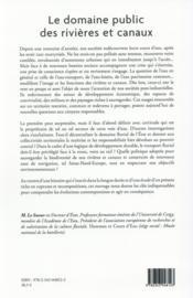 Le domaine public des rivières et canaux ; histoire culturelle et enjeux contemporains - 4ème de couverture - Format classique