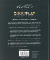 Petit Larousse du chocolat - 4ème de couverture - Format classique