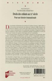 Droits des enfants au XXe siècle ; pour une histoire transnationale - 4ème de couverture - Format classique