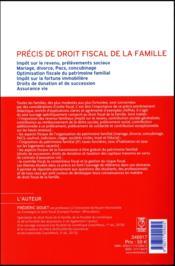 Précis de droit fiscal de la famille (édition 2018) - 4ème de couverture - Format classique