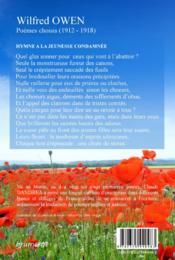 Wilfred Owen ; poèmes choisis (1912-1918) - 4ème de couverture - Format classique