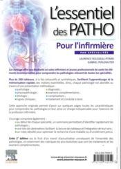 L'essentiel des patho ; par spécialités pour l'infirmière - 4ème de couverture - Format classique