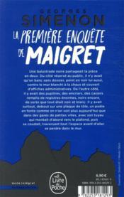 La première enquête de Maigret - 4ème de couverture - Format classique