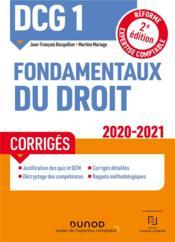 DCG 1 ; fondamentaux du droit ; corrigés (édition 2020/2021) - Couverture - Format classique