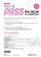 Tout le PASS en QCM ; 3000 QCM et questions, extraits d'annales (édition 2020/2021) - 4ème de couverture - Format classique
