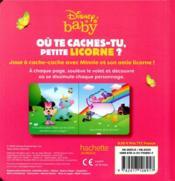 Disney Baby ; où te caches-tu petite licorne ? - 4ème de couverture - Format classique