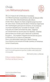Les métamorphoses - 4ème de couverture - Format classique