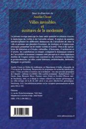 Villes invisibles et écritures de la modernité - 4ème de couverture - Format classique