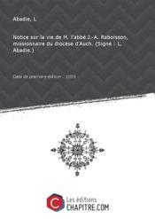 Notice sur la vie de M. l'abbé J.-A. Raboisson, missionnaire du diocèse d'Auch. (Signé : L. Abadie.) [Edition de 1859] - Couverture - Format classique