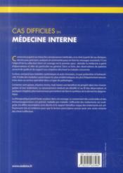 Cas difficiles en medecine interne - 4ème de couverture - Format classique