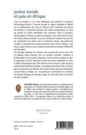 Justice sociale et paix en Afrique ; réflexions sur les voies du droit - 4ème de couverture - Format classique