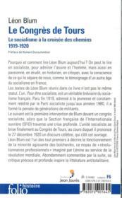 Le congres de Tours ; le socialisme à la croisée des chemins, 1919-1920 - 4ème de couverture - Format classique