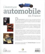 L'aventure automobile en France - 4ème de couverture - Format classique