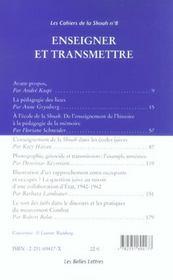 Enseigner et transmettre - 4ème de couverture - Format classique