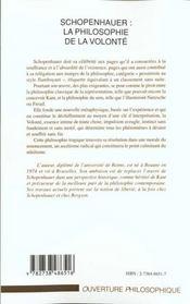 Schopenhauer ; La Philosophie De La Volonte - 4ème de couverture - Format classique