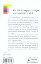 Petit lexique pour l'usage du travailleur social conseils aux travailleurs sociaux et aux beneficiai - 4ème de couverture - Format classique