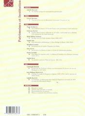 HISTOIRE DE L'ART T.56 ; patrimoines et institutions - 4ème de couverture - Format classique