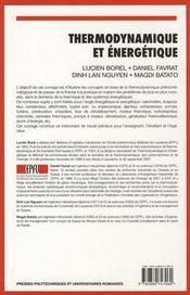 Thermodynamique et énergétique ; 2 problèmes résolus et exercices - 4ème de couverture - Format classique
