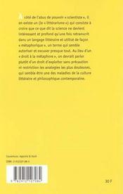 Prodiges et vertiges de l'analogie : de l'abus des belles-lettres dans la pensee - 4ème de couverture - Format classique