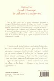 La grande chronique de Guillaume le conquérant - 4ème de couverture - Format classique