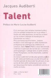 Talent - 4ème de couverture - Format classique