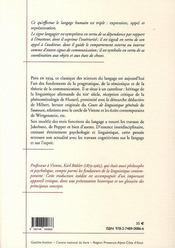Théorie du langage - 4ème de couverture - Format classique