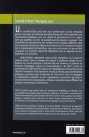 Société d'Etat ? pourquoi pas ? concilier politique et performance ; les secrets de la réussite d'Hydro-Québec - 4ème de couverture - Format classique