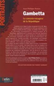 Gambetta ; le commis-voyageur de la République - 4ème de couverture - Format classique