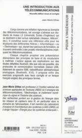 Introduction aux télécommunications - 4ème de couverture - Format classique