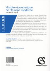 Histoire économique de l'Europe moderne ; XVe-XVIIIe siècle - 4ème de couverture - Format classique