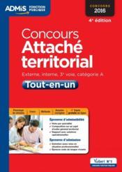 Concours attaché territorial catégorie A tout en un (4e édition) - Couverture - Format classique
