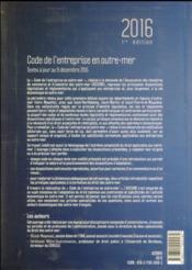 Code de l'entreprise en outre-mer (édition 2016) - 4ème de couverture - Format classique