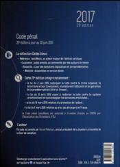Code pénal (édition 2017) - 4ème de couverture - Format classique
