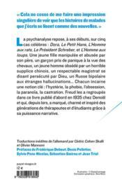 Cinq psychanalyses - 4ème de couverture - Format classique