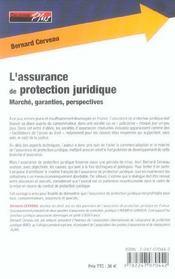 L'assurance de protection juridique ; marche, garanties, perspectives (2e edition) - 4ème de couverture - Format classique