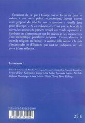 Pluralisme religieux ; quelle âme pour l'europe ? - 4ème de couverture - Format classique