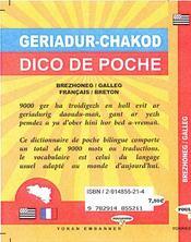 Dico de poche brezhoneg-galleg / français-breton - 4ème de couverture - Format classique
