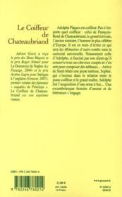 Le coiffeur de Chateaubriand - 4ème de couverture - Format classique
