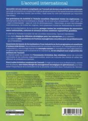 L'accueil international ; concepts et cas de management - 4ème de couverture - Format classique