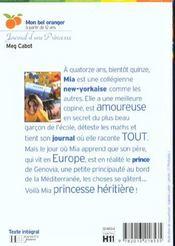 Journal D'Une Princesse - Tome 1 - 4ème de couverture - Format classique