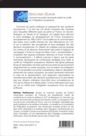 Dépolitiser l'Europe ; comment les partis dominants évitent le conflit sur l'intégration européenne - Couverture - Format classique