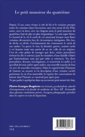 Le petit monsieur du quatrieme - roman - 4ème de couverture - Format classique