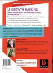 Le growth hacking ; 8 semaines pour doubler le nombre de vos prospects - 4ème de couverture - Format classique